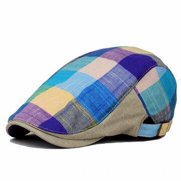Cotton Colorful Plaid Beret Cap