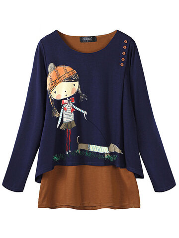 Cartoon Print Long Sleeve Women Blouse