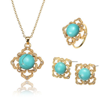 JASSY® Luxury 18K Gold Turquoise Jewelry Set