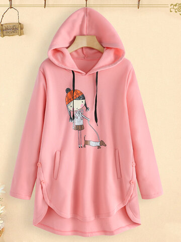 Casual Cartoon Print Irregular Hem Hooded Sweatshirt for Women, Wine red grey orange pink black