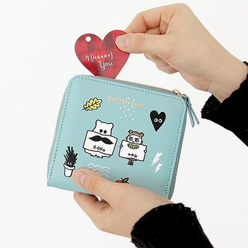 Women Cute Short Wallet Print Card Holder Lovely Coin Purse