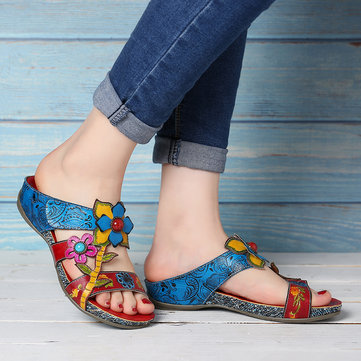 Bohemia Hand Painted Floral Sandals