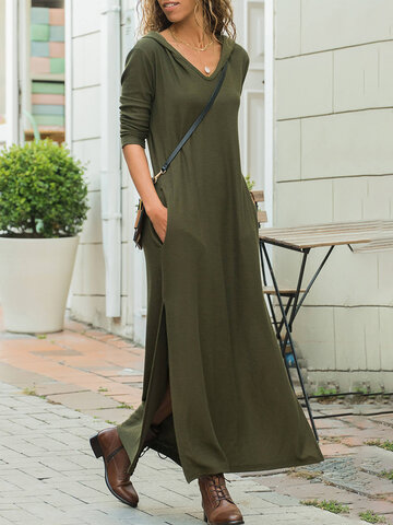 Side Splited Hooded Maxi Dress