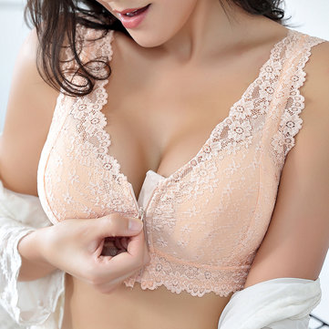 c70e99f99c Zip Front Cotton Lining Wireless Bra