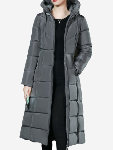Casual Hooded Long Down Coat