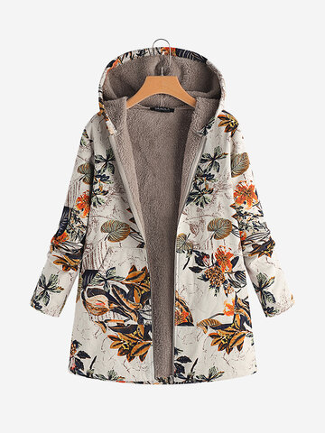 Leaves Floral Hooded Coats