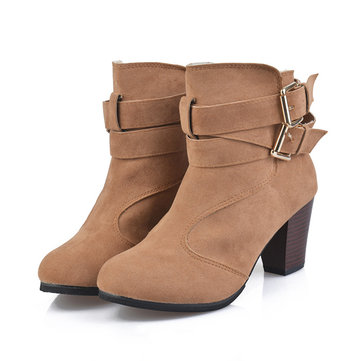 Solid Color Thermal Square Heel Keep Warm Ankle Boots For Women