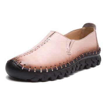 Genuine Leather Stitching Soft Loafers