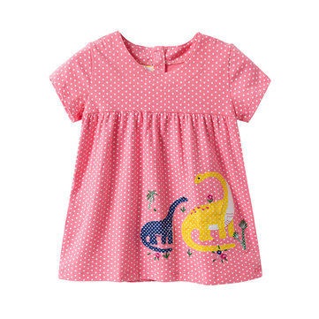Monster Print Casual Dress For 1-7Y