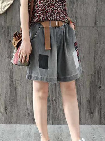 newchic / Retro Patch Hot Shorts