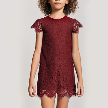 Solid Color Girls Lace Dress For 3-11Y, Black white red