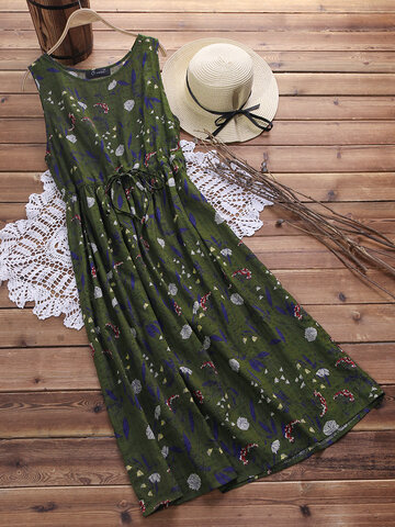 Printed Drawstring Sleeveless Maxi Vestidos