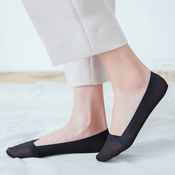 Women Summer Breathable Invisible Boat Socks, Nude white black grey pink