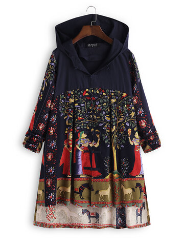 Folk Style Print Hooded Vintage Coats