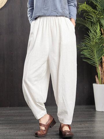 Pantaloni con tasche elastiche in vita vintage