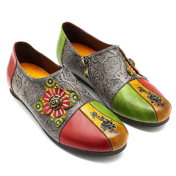 SOCOFY Retro Genuine Leather Vine Pattern Flat Shoes