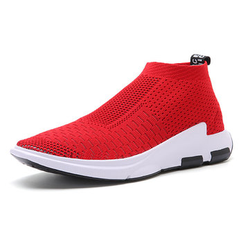 Large Size Breathable Knitted Strech Fabric Sport Casual Shoes For Women