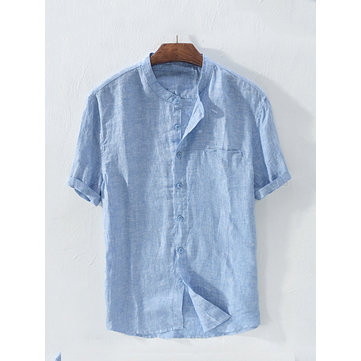 Mens Linen Brief Pure Color Causal Shirt