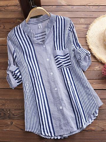 Chemise décontractée irrégulière en patchwork à rayures