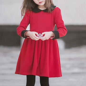 Cute Collar Long Sleeve Dress 4-15Y