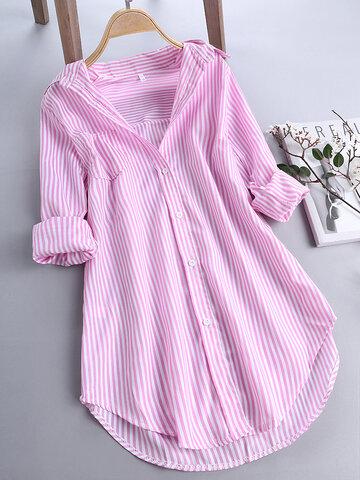 Camisas de manga longa Casual Stripe
