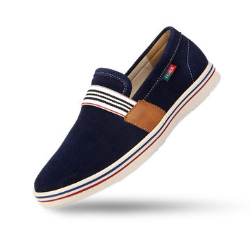 Men Suede estilo britânico de camurça Lazy Slip On Flat Casual Driving Loafers