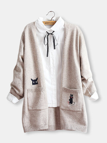 Embroidery Cat Sweater Cardigans