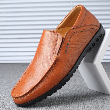 Men Leather Non-slip Casual Driving Shoes