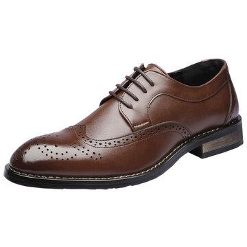 الرجال منحوتة جلد طبيعي أحذية البروغ الرسمية