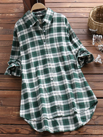 Casual Plaid Print Loose Blouse