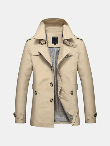 Business Single Breasted Casual Trench Coat for Men