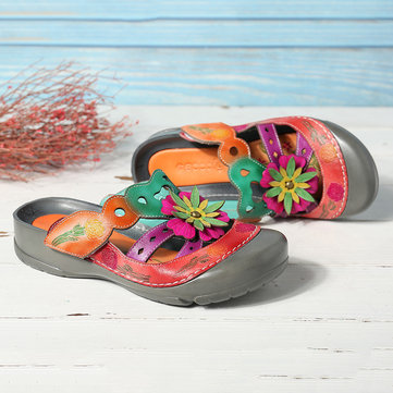 Hand Painted Leather Floral Sandals