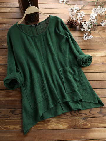 Vintage Solid Color Irregular Pocket Blouse