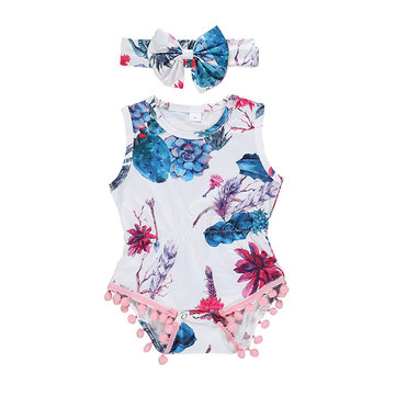 2Pcs Flower Baby Romper For 0-24M