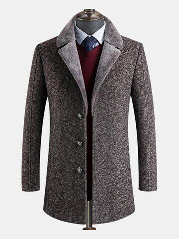 Mens MidLong Casual Business Fur Lapel Collar Trench Coat