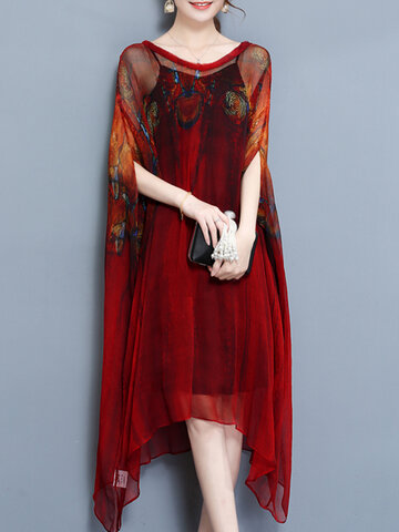 Women Printed Batwing Sleeve Dresses