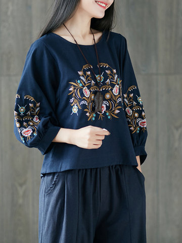 Ethnic Embroidery Long Sleeve Women Loose Shirts, White red black navy blue