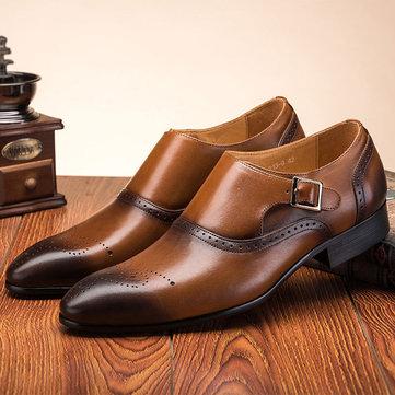 पुरुष रेट्रो रंग गैर पर्ची औपचारिक जूते