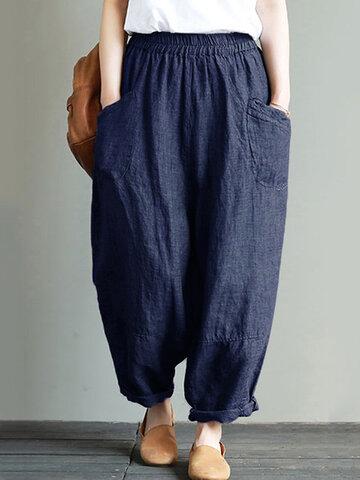 vendimia Bolsillos de color sólido Pantalones