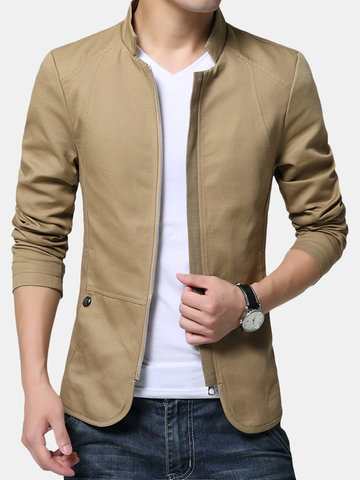 Cotton Stand Collar Jacket