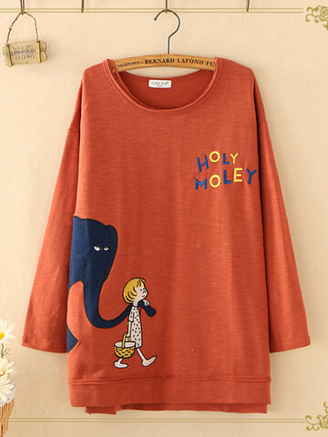 Letter Cartoon Print Casual T-shirts
