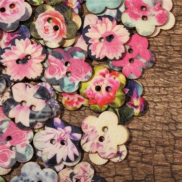 Botões De Costura Em Forma De Flor De Madeira
