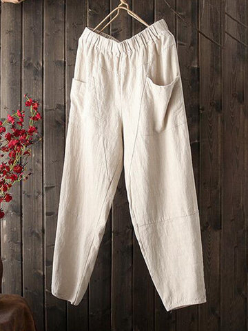 Vintage Elastic Waist Pocket Pants