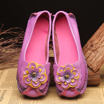Handmade Floral Genuine Leather Flats