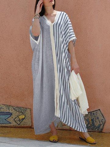 Lace Patchwork Stripe Maxi Dress