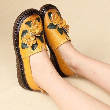 Soft Leather Flowers Flat Shoes