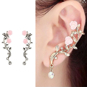 Boucles d'oreilles manchette fleur rose