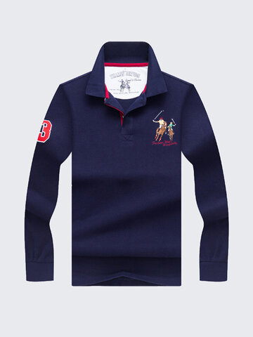 Spring Fall Embroidery Casual Business Golf Shirt