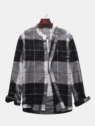 Casual Plaid Stand Collar Long Sleeve Shirt for Men