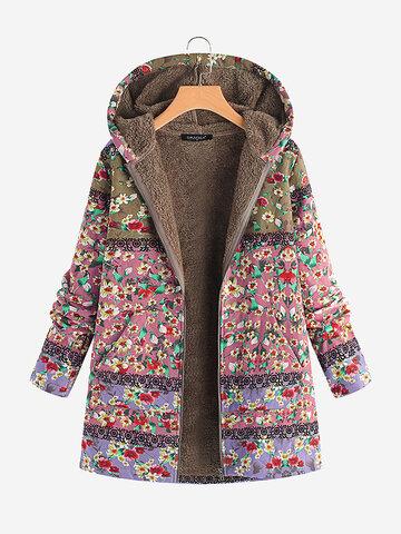 Manteau vintage à capuche à imprimé floral